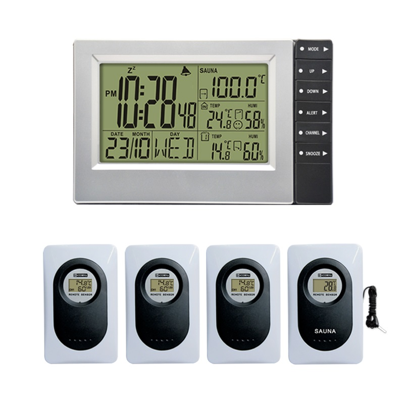 Digital Wireless Weather Station with Indoor Outdoor Thermometer Hygrometer Digital Sauna Temperature Alarm Clock 4 TransmittersDigital Wireless Weather Station with Indoor Outdoor Thermometer Hygrometer Digital Sauna Temperature Alarm Clock 4 Transmitters