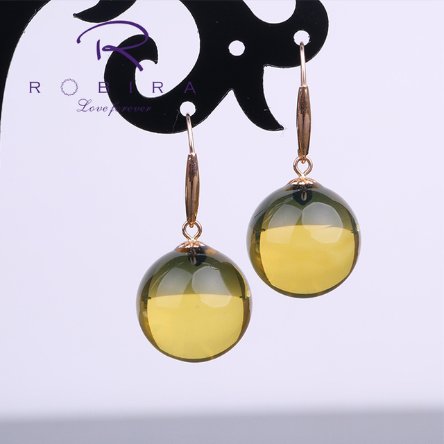 Robira Vintage Natural Clever Blue Amber Beads Drop Earrings Real 18K Rose Gold Wrinking Earrings for Women Party Jewelry Gift