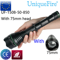 Uniquefire 1508 850 50mm Hunting LED Flashlight Zoom 3 Modes Infrared Light Waterproof Lamp Torche+75mm Head