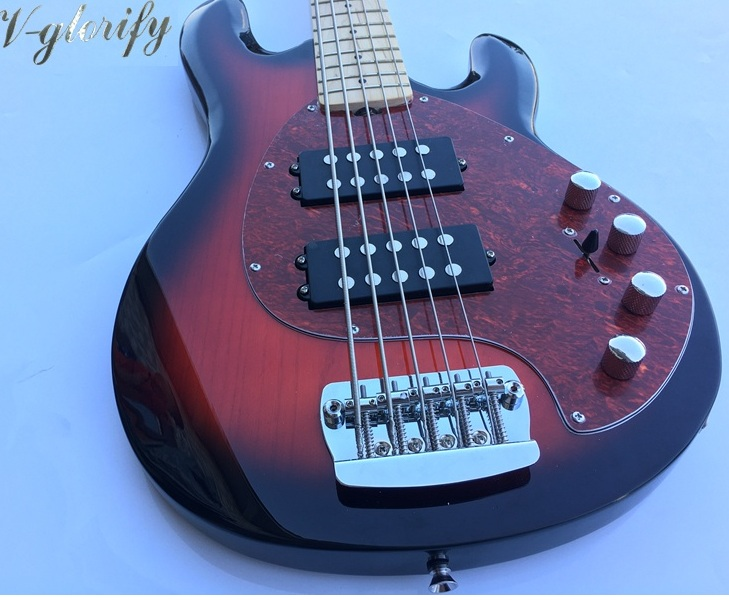 high gloss red color 5 string customized bass guitar