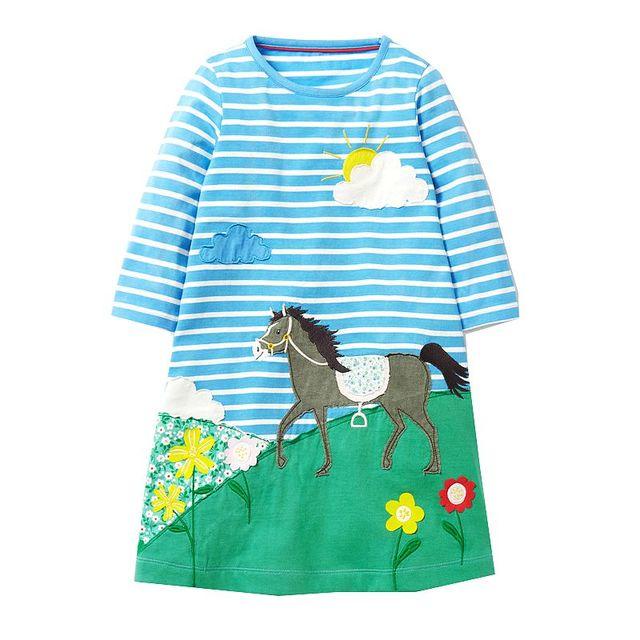 Girls Dress Vestido 2017 Brand Autumn Baby Girls Clothes Kids Christmas Dresses 100% Cotton Princess Dress with Animal Appliques