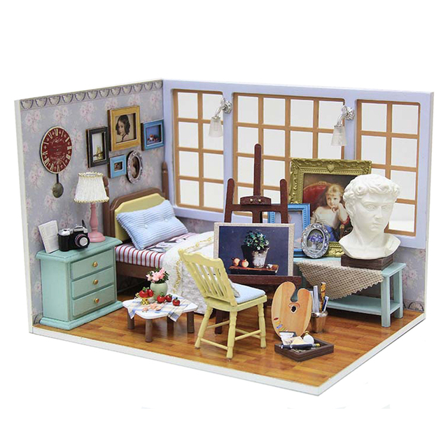 wooden dollhouse furniture kit miniature studio craft. Black Bedroom Furniture Sets. Home Design Ideas