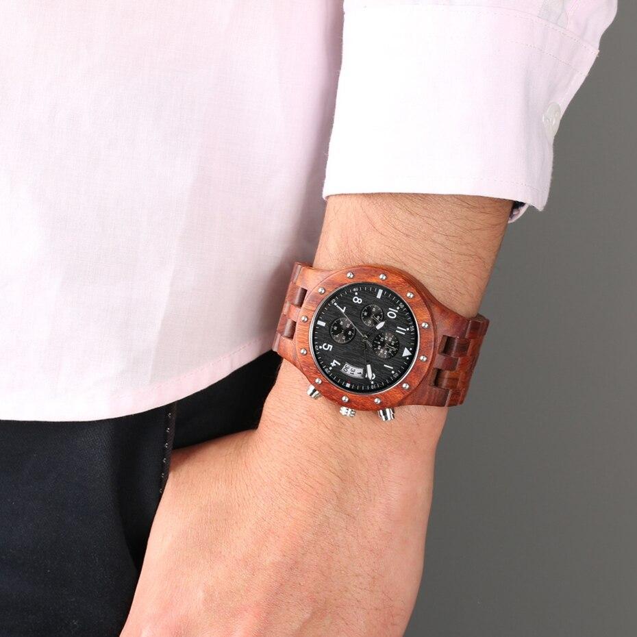 Wooden Watch Men erkek kol saati Top Luxury Stylish Redwood Timepieces Chronograph Military Date Calendar Quartz Watches for Men 2019 2020 2021 2022 (10)