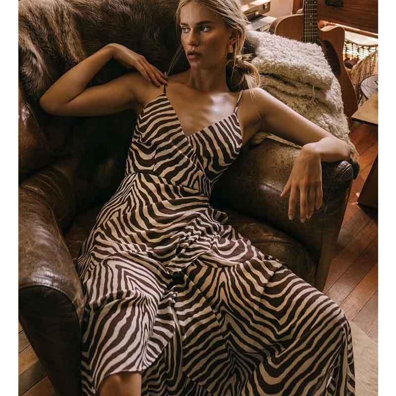 Cosmicchic Sexy Strap Maxi Dress Silk Zebra Print V Neck Wrapped Silk Long Dress Designer Brand