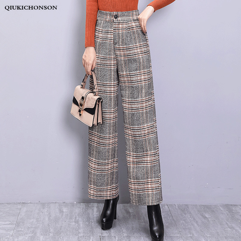 Vintage Elegant High Waist Plaid Trousers Women Autumn Winter Thick Wool   Wide     Leg     Pants   Ladies Casual pantalon palazzo mujer