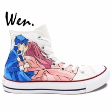 Wen Design Custom Hand Painted Shoes Romeo x Juliet Wedding Women Men's High Top Canvas Sneakers(China)