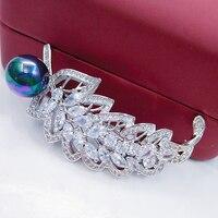 Folha personalizado com pérola Broche Broche de Pino de Bronze Antigo Do Vintage das Mulheres de Cristal Silvertone Jóias Acessório Frete Grátis