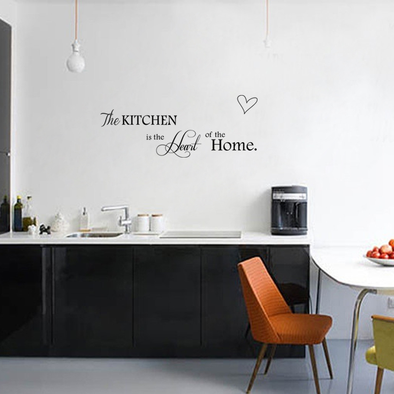 Kitchen Wall Background Kitchen Is Heart Of The Home Letter Pattern Wall Sticker Pvc
