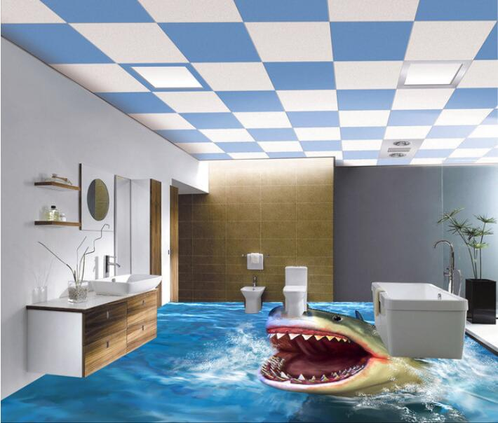 ФОТО 3 d pvc flooring custom 3d bathroom flooring wallpaper To draw 3 d sharks bathroom tile flooring  mural wallpaper for walls 3d