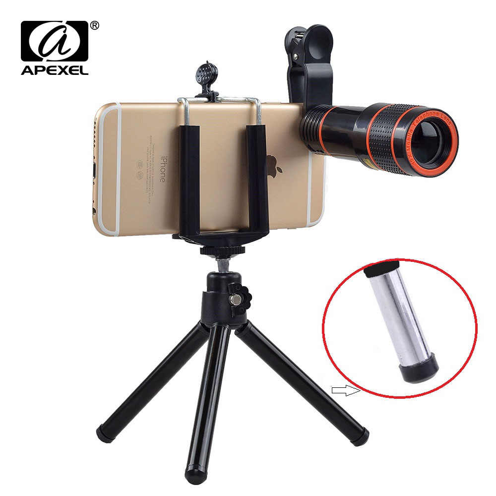 Apexel hd lens 12X Zoom Telephoto Lens kit 4 in 1 SmartPhone Telescope Camera lens For iPhone 6 7 Sumgung xiaomi HTC with tripod