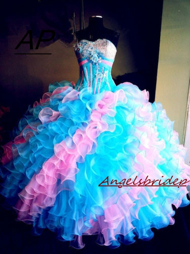 ANGESLBRIDEP Green And Pink Quinceanera Dresses 15 Years Elegant Crystal Beading Bodice Full Length Formal Ball