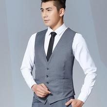 Men's vest formal business suits waistcoat single-breasted v-neck simple style wedding bridegroom handsome men's vest