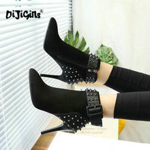 الخريف الشتاء النساء الأحذية البريدي عالية الكعب الأحذية موضة مثير أشار تو حذاء من الجلد عالية الكعب بوتاس موهير برشام انخفاض الشحن