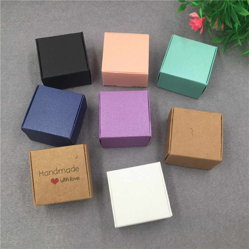 Kraft Paper Gift Packing Box Hand Made with Love ,Wedding Favor Supplies Wrapping Box.to Pack Ring/Soap/Candy/Chocolate