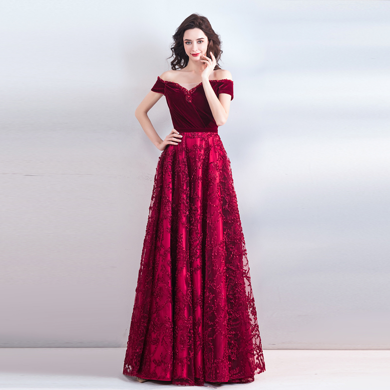 Burgundy Evening Dress Lace Jersey Short Sleeves Off Shoulder Beaded Prom Dress