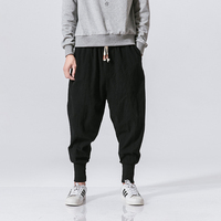 New arrive Japanese cotton flaxen trousers ankle banded pants men loose harem Chinese style large bloomers linen knickerbockers