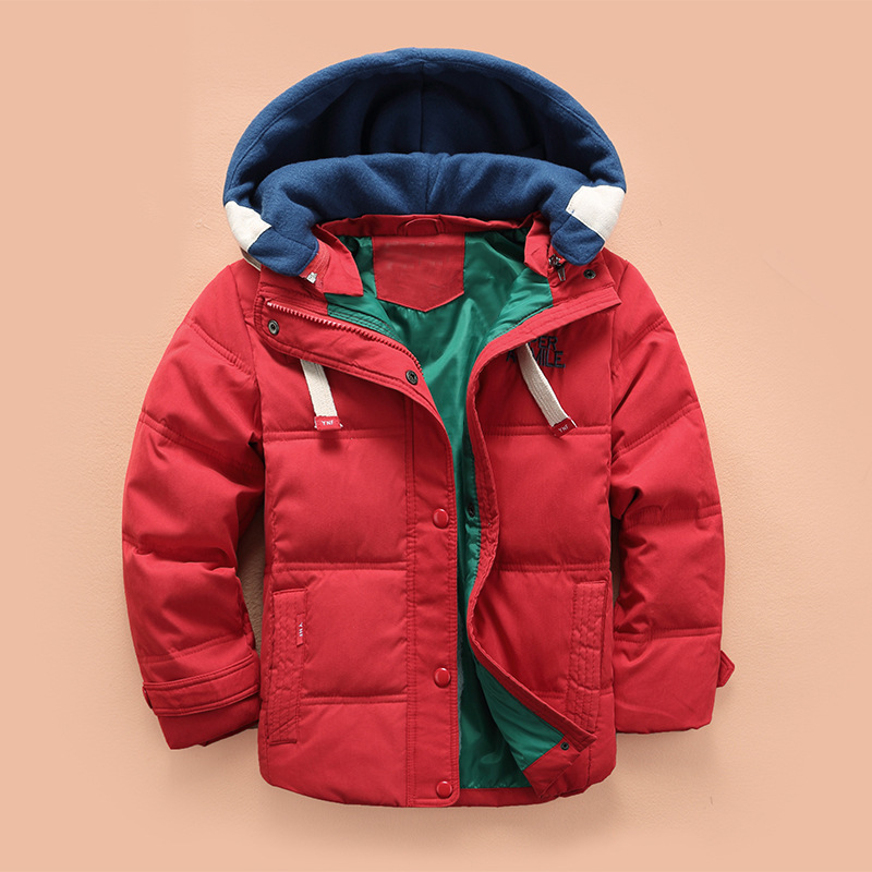 children Down & Parkas 4-10T winter kids outerwear boys casual warm hooded jacket for boys solid boys warm coats 2021 4