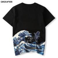 Japanese Ukiyoe Style Men T Shirt Print Wave Carp Fish High Quality Summer T Shirt Tops