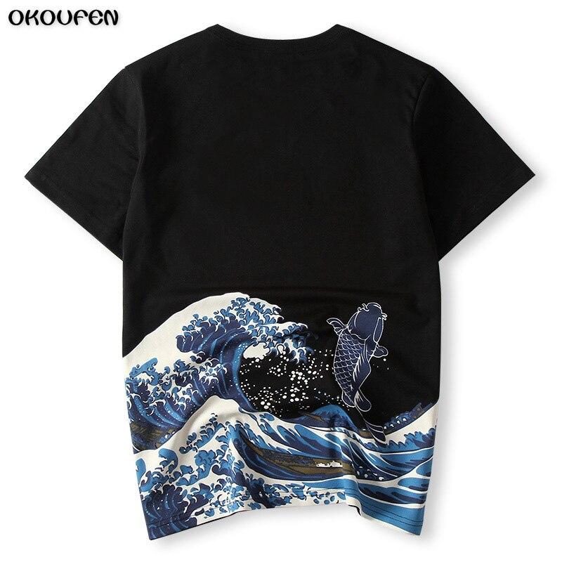 Japanischen Ukiyoe Stil Männer T-shirt Drucken Welle Karpfen hohe Qualität Sommer T-shirt Tops Tees Fashion Größe 4XL Freies ShippingTXS38