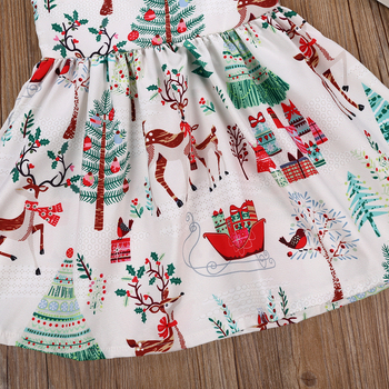 2-6 Years Xmas Toddler Kid Baby Girl Christmas Cartoon Deer Sleeveless Party Dress 3