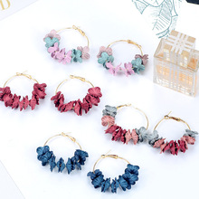 Fashion Fabric Flower Drop Earrings For Women Statement Colorful Petal Circle Big Fancy Accessories Jewelry Oorbellen