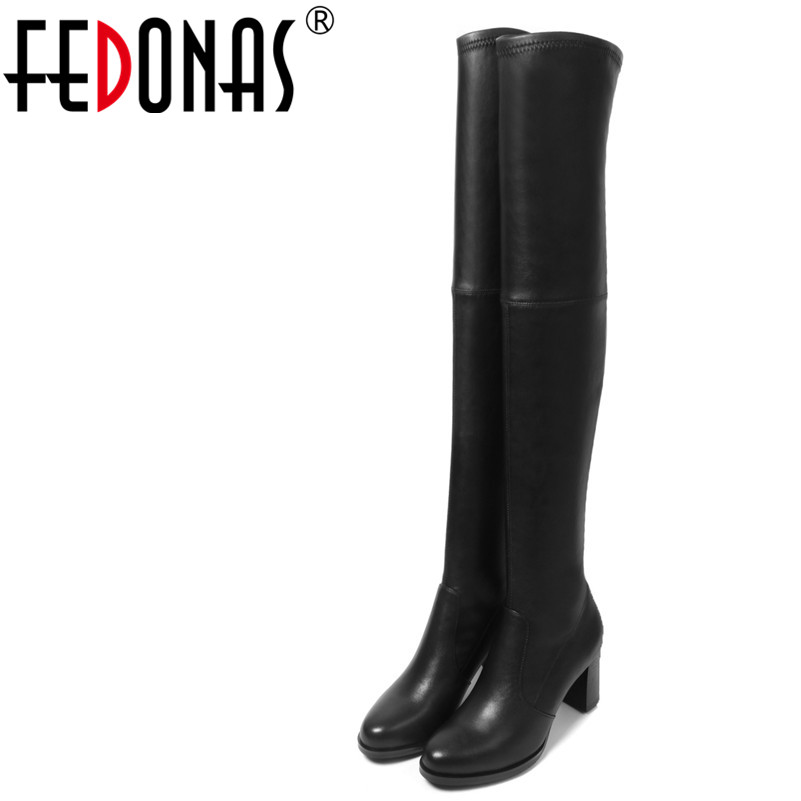 FEDONAS Fashion Women Over The Knee Boots Genuine Leather Autumn Winter Warm High Heels Shoes Woman Round Toe Quality High Boots airfour new fashion style warm winter boots for women over the knee round toe square high heels poitnted toe fashion lady shoes