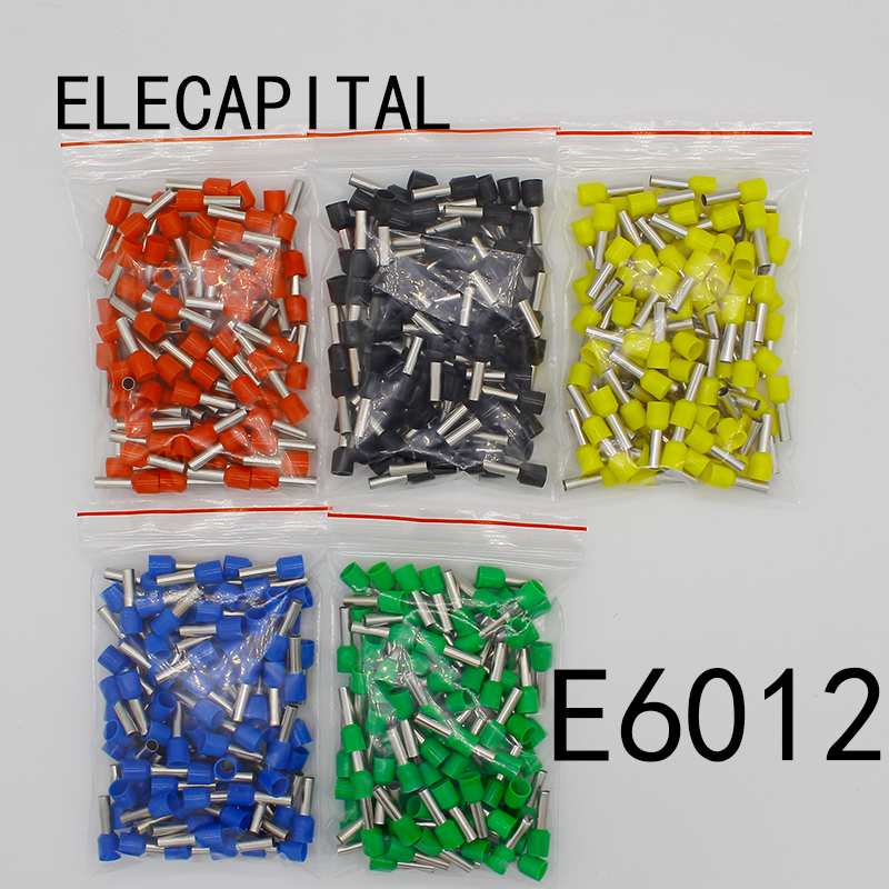 E6012 Tube insulating terminals 6MM2 100PCS/Pack Cable Wire Connector Insulating Crimp Terminal Insulated Connector E-
