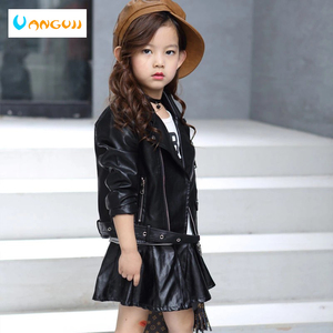 Image 3 - childrens pu jacket Girls motorcycle jacket kid outwear solid color Zipper belt Faux Leather spring Autumn fashion pu jacket