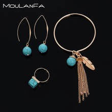 3 pcs/set Antique gold Plated earring Turquoises Natural Stone Beads ring bracelet charm jewelry Set Pack For  Women gold plated embellished ring set