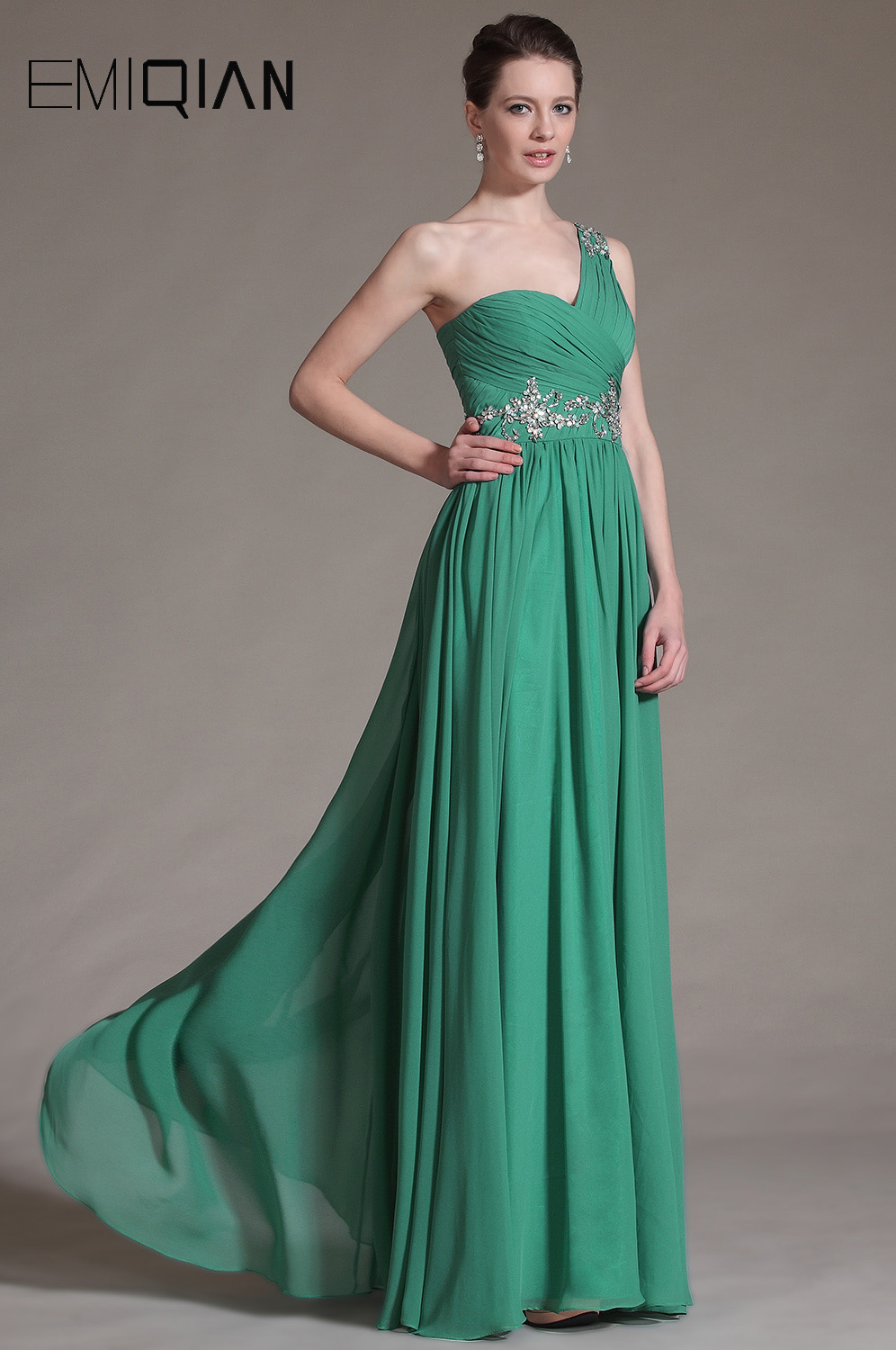 Free Shipping A line One Shoulder Pageant Dresses Ruched Bodice ...