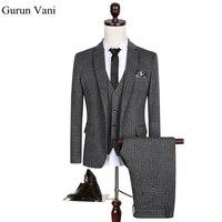 2017 benutzerdefinierte Slim Fit Side Slit Grau Plaid Kleid Kerbe Revers Bräutigam Smoking Männer Anzüge Man Anzug Jacke + hose + Weste