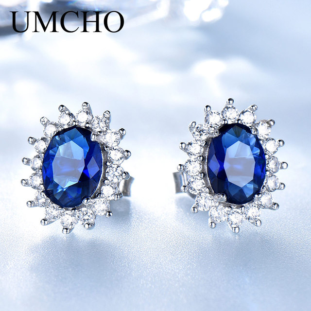 UMCHO Luxury Genuine 925 Sterling Silver Earrings for Women Blue Sapphire Diana Wedding Party Jewelry Romantic Gift Fine Jewelry