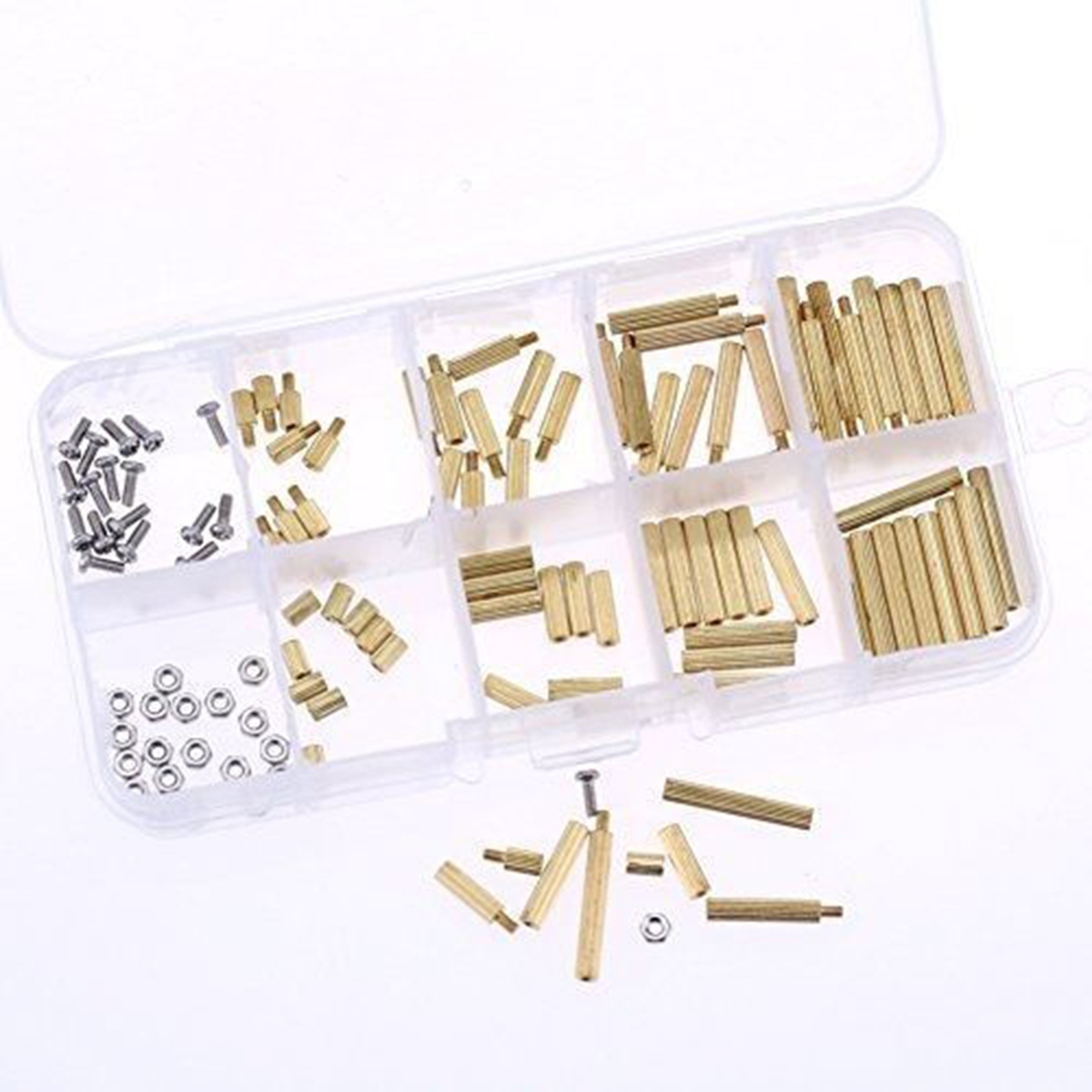 120pcs Assorted M2 Male Female Brass Spacers Standoff Pcb Board M3 Copper Silver Pillars Circuit Nut Screw Set For Hardware Accessories