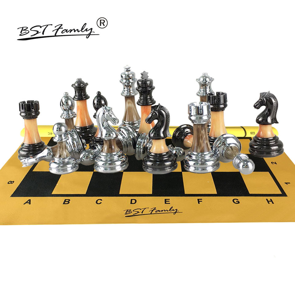 BSTFAMLY Chess Set ABS Plastic and Metal Aggravation Chess Pieces Chessman King 90mm PU Leather Chessboard Chess Game I100 библия для детей избранные места из св писания