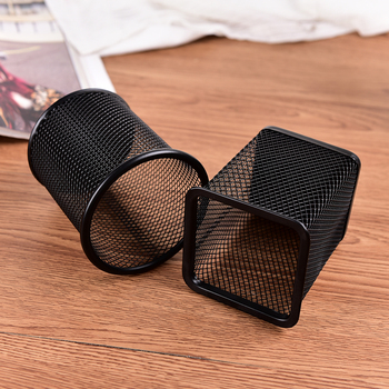 New Black Metal Stand Mesh Style Pen Pencil Ruler Holder Desk Organizer Storage Office Accessories