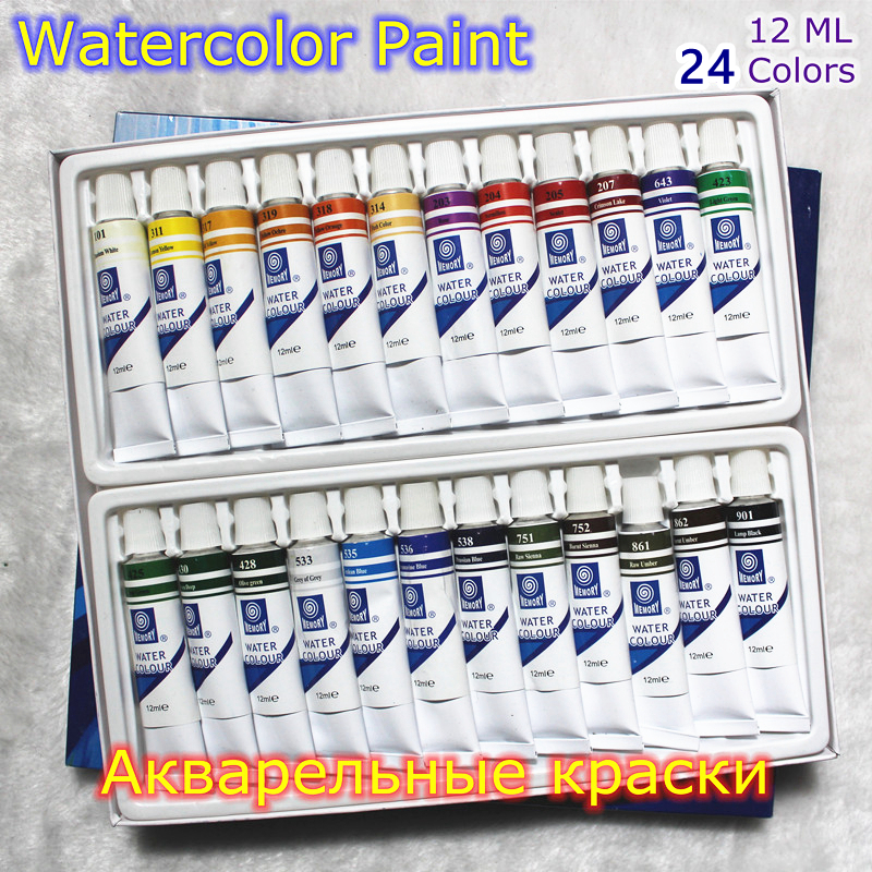 Professional Brand Watercolor Paint Paper Pigment Art Supplies Acrylic Paints Each Tube Drawing 12 ML 24 Colors Set