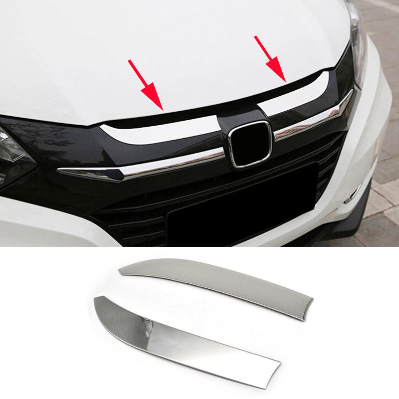 Auto Replacement Parts 2pcs Chrome Car Front Hood Bonnet Grille Cover Trim Garnish For Honda Hr-v Hrv 2014-2018 Model Car Exterior Accessories Styling Curing Cough And Facilitating Expectoration And Relieving Hoarseness Styling Mouldings