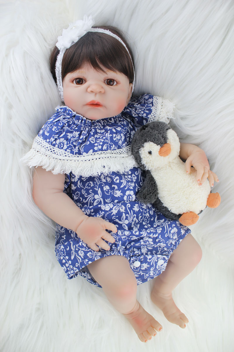 55cm Full silicone reborn baby girl doll toys lifelike 22inch newborn princess  babies doll with plush toy kids gifts bathe toy new arrival 55cm blue eyes pink clothes lifelike baby soft girl doll with free plush toy as kids xmas gifts birthday doll toys