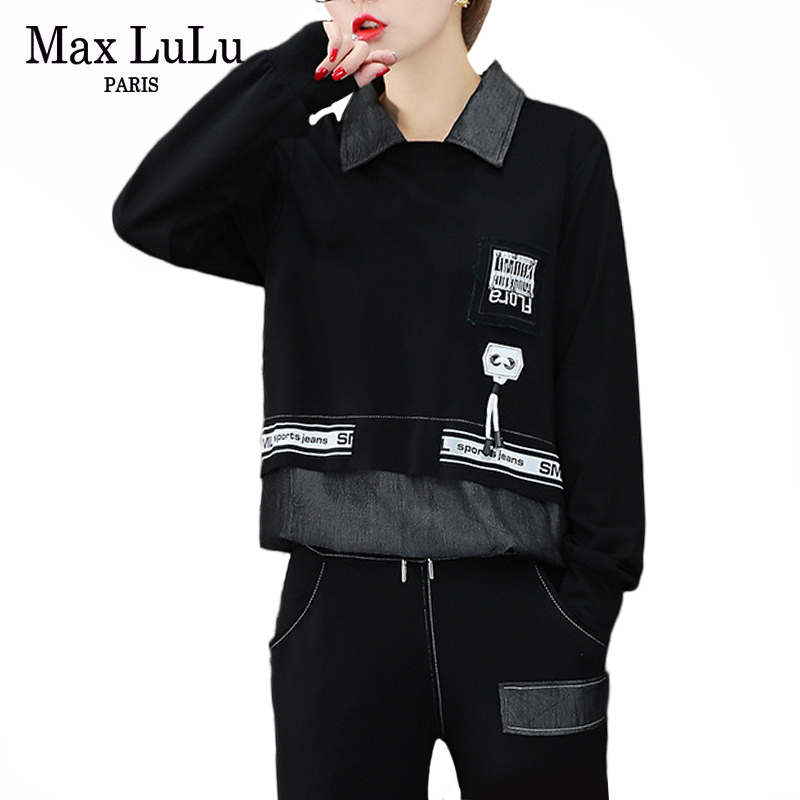 Max LuLu 2019 Autumn Fashion Korean Style Ladies Fitness Tops And Pants Womens Denim Two Piece Set Casual Tracksuit Club Outfits