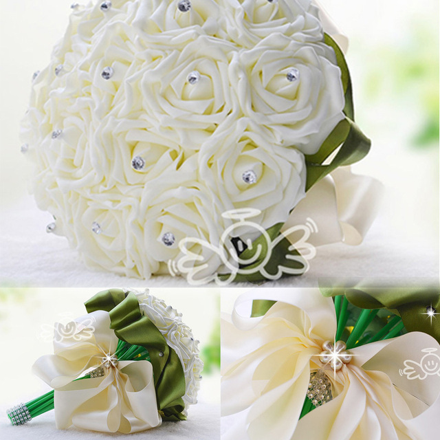Hot Sale White Rose Bridal Wedding Bouquet With Green Silk Luxury Crystal Artificial Bridesmaid Flower 2015 New Arrival WF002