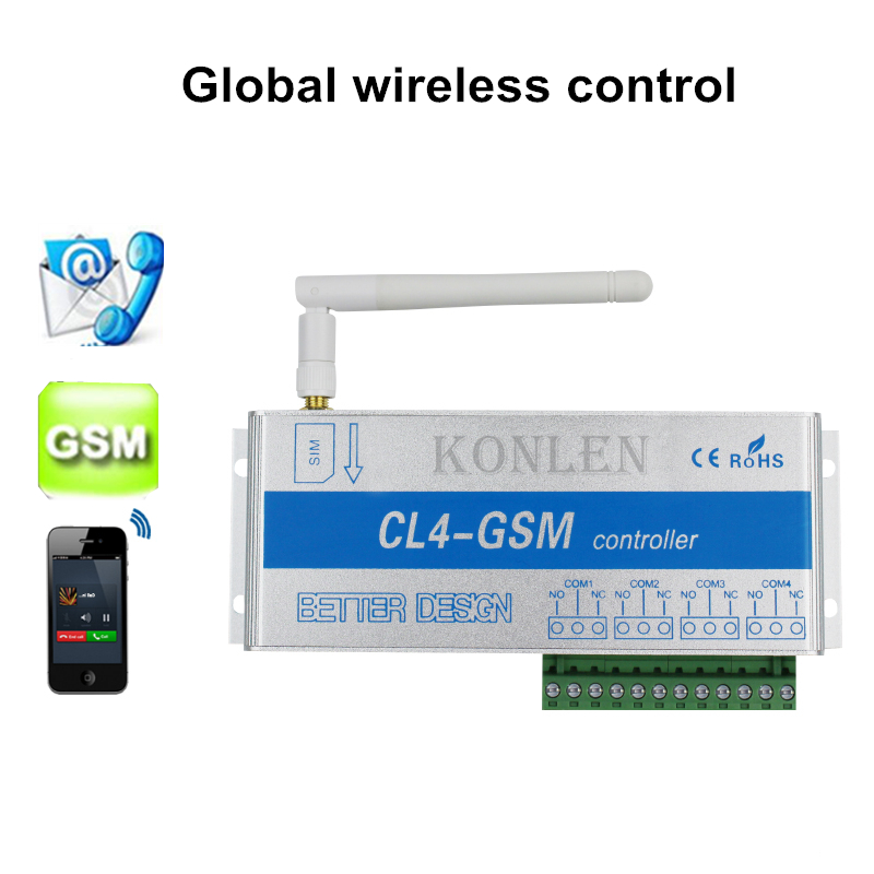 4 Channels Gsm Relay Switch Call Sms Remote Control Light Curtains Garage Door and Water Pump