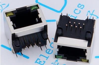 10PCS <font><b>RJ45</b></font> Modular Network PCB <font><b>Jack</b></font> 56 8P LAN Connector Shielded with LED Lamp image
