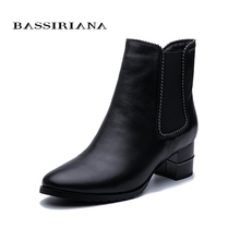BASSIRIANA/2019 Winter new women and ankle boots genuine leather wool warm large size Free Shipping