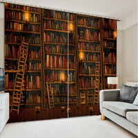modern window curtains stereoscopic 3D curtain Bookshelf candlelight living room bedroom kids blackout curtains