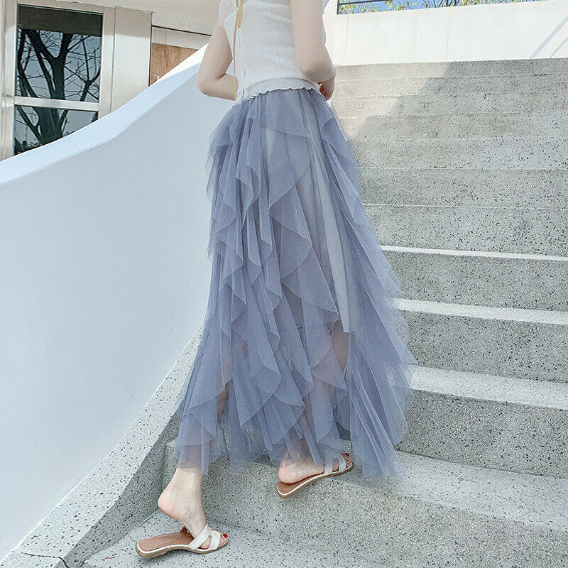 New Korean Style Spring Summer Women Pleated Skirt Elegant Tulle Skirt Layered High Waist A Line Tutu Skirts For Holiday Party