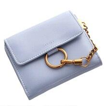 Купить с кэшбэком 6 Color Fashion Women Wallets Metal Hanging Chain Foldable Women's Purse Ladies Mini Wallet PU Leather Wallet
