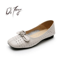 купить DRFARGO New Summer Genuine Leather Shoes Women Square Toe Bowtie Breathable Cutout Bowknot Flats for Women plus big size43 HH195 дешево