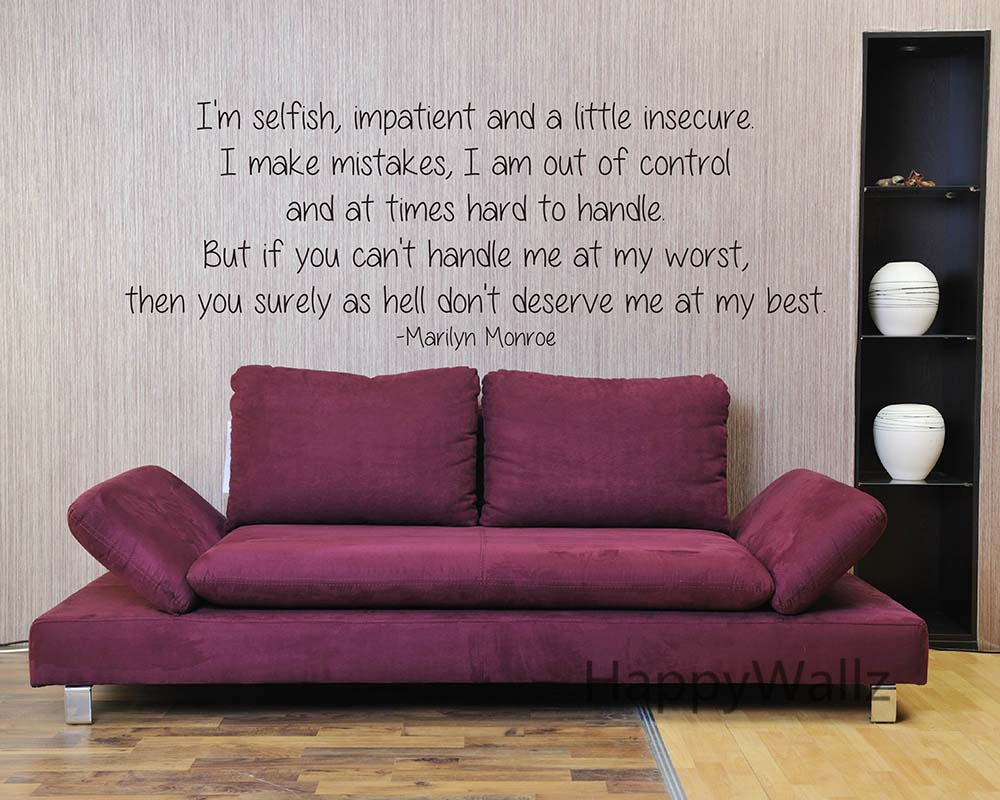 Marilyn Monroe Love Quote Wall Sticker I'm Selfish Quote ...