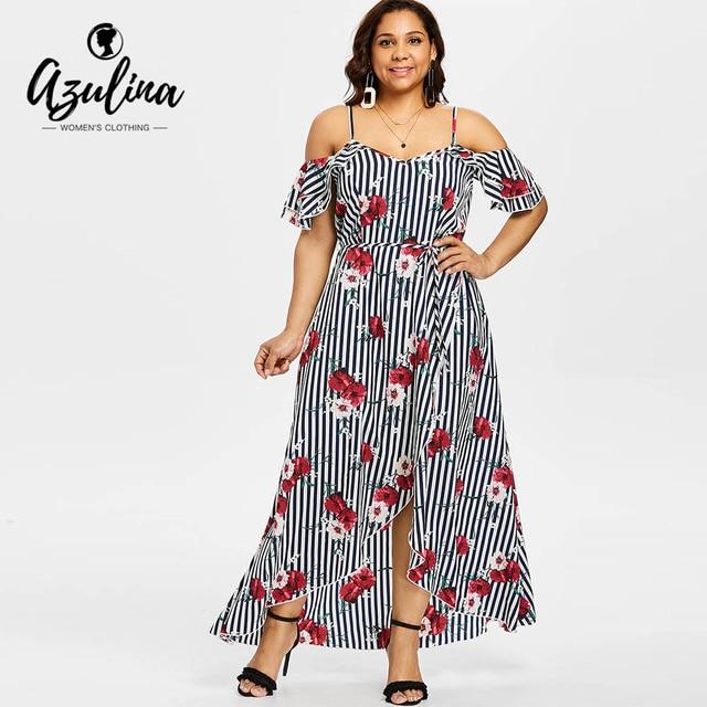 AZULINA Plus Size Floral Belted Cold Shoulder Overlap Maxi Dress ...