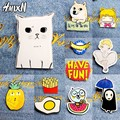 2016 New Acrylic Brooches Pins Figure Simpson Fruit cartoon jewelry cute dog cat Broche shirt enamel pin